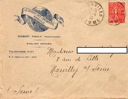 LAC 1932 - Entête Illustrée - LE GRAND CAFE CONTINENTAL  à  ABBEVILLE - Cachet Abbeville Sur Semeuse Lignée 50c - 1921-1960: Periodo Moderno