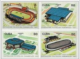Cuba 1991 Pan-American Stamp Exhibition PANAMFILEX Architecture Place Expo Architecture Stadium Place Stamps MNH - Cuba