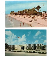 2 Different FORT MYERS, Florida, USA, Public Beach & Post Office, Old Chrome Postcards - Fort Myers