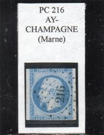 Marne - N° 14A (déf) Obl PC 216 Ay-Champagne - 1853-1860 Napoléon III