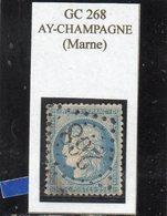 Marne - N° 60A Obl GC 268 Ay-Champagne - 1871-1875 Cérès