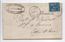 - Lettre VINS & EAUX DE VIE JACQUEMOT, FAVERNEY (Haute-Saône) Pour TOURNUS 11 OCT 1880 - 15 C. Bleu Type Sage - - 1877-1920: Semi-moderne Periode