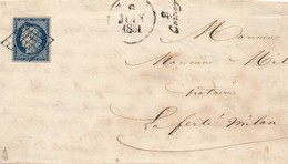 25 C Bleu Foncé N° 4 S LAC Signée Calves Avec CURSIVE 2 COINCY TB. - 1849-1850 Ceres