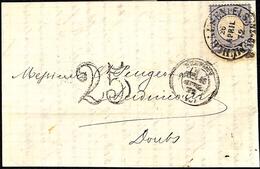 Mulhausen-Mulhouse 1872 Fer à Cheval Pour Audincourt  + Cachet Taxe 25 - Marcophilie (Lettres)