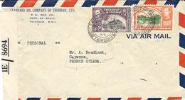 1945- Enveloppe Par Avion De Port Of Spain Pour  Cayenne ( Guyane ) Censure Brittanique I E / 8694 - Trinité & Tobago (1962-...)