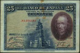 SPAIN - 25 Pesetas 15.08.1928 {Banco De España} VF- P.74 B - [ 1] …-1931 : Prime Banconote (Banco De España)