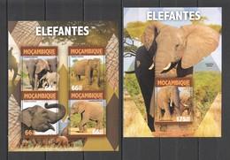 CC401 2016 MOZAMBIQUE MOCAMBIQUE ANIMALS & FAUNA ELEPHANTS 1KB+1BL MNH - Elephants