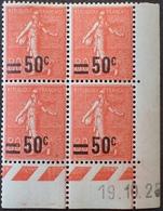 R1189/387 - 1925 - TYPE SEMEUSE CAMEE - N°220 TIMBRES NEUFS** CdF Daté - Coins Datés