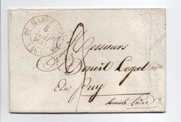 - Lettre MARUEJOLS (Gard) Pour LE PUY 6 MAI 1833 - Cachet Type 12, Avec Demi-fleurons - Taxe Manuscrite 3 Décimes - - Marcofilia (sobres)