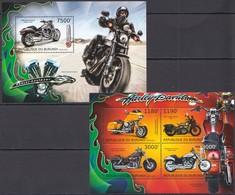 SS915 2012 BURUNDI MOTOS MOTORCYCLES HARLEY-DAVIDSON 1KB+1BL MNH - Motorbikes