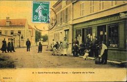 C.P.A. - FR.[27] Eure > Saint-Pierre-d'Autils  - Epicerie De La Place Très Animée - Daté 1908 - TBE - France