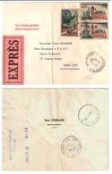 MOSTAGANEM Par Avion Expres Dest Paris Union Bancaire 85c Calais Yv 1315 Surch EA 5c Gorges Kerrata Verso Pneu Ob 1962 - Algérie (1924-1962)