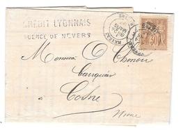 Lettre TimbreN° Y&T 80 Perforé C L Nevers Pour Cosne / Loire - France
