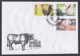 FDC ANIMALES DE CORRAL. CUBA. SERIE COMPLETA + HF - FDC