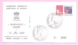 FDC Officielle 1er Jour. LUQUET LA POSTE. 1 Valeur N°674 PhilexFrance 99. Premier Jour 13 Mai 1998. 975 SAINT-PIERRE. TB - FDC