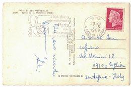 """NN101    Flamme  """"Floralies Internationales De Paris 1969"""" CP Pour L'italie - Storia Postale"""