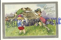 Joyeuses Pâques. Enfants, Gros Oeuf Et Course De Lévriers. Dorée Signée Castelli. 1934 - Castelli