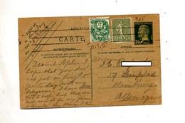 Carte Postale 20 C Pasteur + Blanc + Semeuse Flamme Muette - Entiers Postaux
