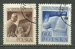 POLAND Oblitéré 843-844 Syndicat Des Instituteurs Polonais Instituteur élève école Livre - 1944-.... Republik