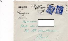 LSC 1940 - Entête SENAT  République - Commission Des Finances - Postmark Collection (Covers)