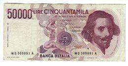 50.000 LIRE BERNINI I° TIPO CIRCOLATA 1984 SERIE WD - [ 2] 1946-… : Républic