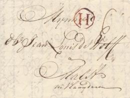Nederland / België - 1768 - Complete EO Vouwbrief Van Dordrecht Met H In Cirkel Naar Aalst - Niederlande