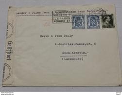 Luxembourg, Belgique Envoyé à Esch-Alzette 1941. Censure 144 - 1940-1944 Duitse Bezetting