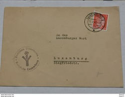 Luxembourg, Occupation, Cache Et Timbre 1943 - 1940-1944 German Occupation