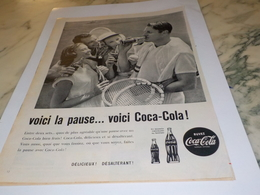 ANCIENNE PUBLICITE VOICI LA PAUSE TENNIS COCA COLA 1960 - Affiches Publicitaires