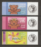 France 2001 -  - 3 Timbres Personnalisés MNH -  - Logo Céres - Merci - C'est Un Garçon - C'est Une Fille - Personalisiert