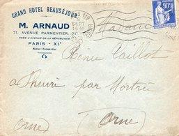 LAC 1939 - Entête GRAND HOTEL BEAUSEJOUR - M.ARNAUD à PARIS XI / Au Dos Cachet Hexagonal Perlé MORTREE CP N°8 (Orne) - 1921-1960: Moderne