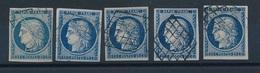 """DH-45: FRANCE: Lot """" CERES"""" Avec N°4  Obl Grille (5) 1er Choix - 1849-1850 Ceres"""