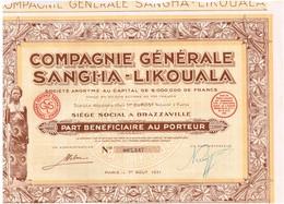 Action Ancienne - Compagnie Générale Sangha-Likouala - Titre De 1931 - Congo Brazza - N° 007.347 - Afrika