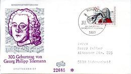 """BRD Schmuck-FDC """"300. Geburtstag Von Georg Philipp Telemann"""" Mi.1085  ESSt BONN 1, 12.2.1981 - BRD"""