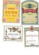 LOT DE 4 ETIQUETTES DIFFERENTES QUINQUINA - Etiquettes