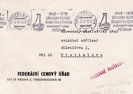 Czech Republic Czechoslovakia 1978 Cover: Atom Physics: Uranium Mines Pribram; Source Of Uranium Industry Rooler Cancel - Physics