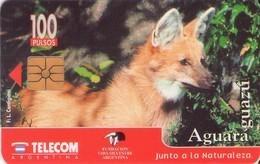 TARJETA TELEFONICA DE ARGENTINA. FAUNA, AGUARA GUAZÚ - G69. (153). Regular, Reverso Descolorido - Tarjetas Telefónicas