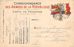 PIE-Z-00-19-5882 : CORRESPONDANCE DES ARMEES DE LA REPUBLIQUE. CARTE EN FRANCHISE. DRAPEAUX. - Marcofilia (sobres)