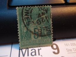 Timbre Sage  5 C Oblitéré.  1891 - 1876-1898 Sage (Type II)