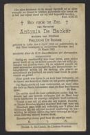 DOODSPRENTJE * ANTONIA DE BACKER * ° 1844 LEDE + 1932 SINT LIEVENS HOUTEM * FOTO - Imágenes Religiosas