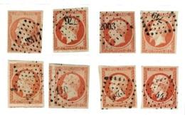 A2- Lot De 8 N°16 , Nuances Et Oblitérations. Timbres Sans Pli Ni Aminci - 1853-1860 Napoleon III