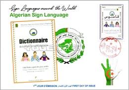 ALGERIA 2019 FDC Sign Language Disabled Handicap Deafness Deaf Taubheit Surdité Taub Sordera Algeria Alphabet - Handicaps