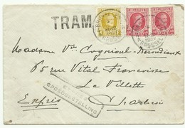 Affranchissement Houyoux 40c. (x2) + 1Fr. Obl. Sc BRUXELLES 4  Sur Lettre Exprès (griffe Bilingue) Du 4-X-1927 Vers Char - 1922-1927 Houyoux