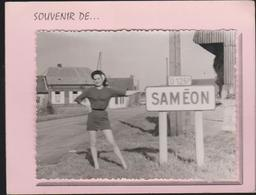 SAMEON  - Carte Photo Double Collée Sur Le 1er Feuillet Entrée Du Village Panneau Indicateur - Other Municipalities