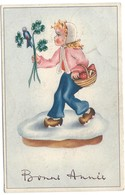 0150 - BONNE ANNEE - GIRL WITH FLOWERS - Feiern & Feste