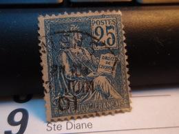 Timbre MOUCHON Droits De L'Homme 25 Oblitéré.  1901 - 1900-02 Mouchon