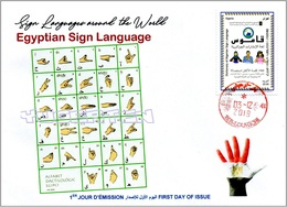 ALGERIA 2019 FDC Sign Language Egypt Handicap Deafness Deaf Taubheit Surdité Taub Sordera Alphabet Disabled - Handicaps