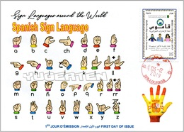 ALGERIA 2019 FDC Sign Language Spain Handicap Deafness Deaf Taubheit Surdité Taub Sordera Alphabet Disabled - Handicap