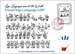 ALGERIA 2019 FDC Sign Language France Handicap Deafness Deaf Taubheit Surdité Taub Sordera Alphabet Disabled - Handicaps