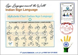 ALGERIA 2019 FDC Sign Language Germany Handicap Deafness Deaf Taubheit Surdité Taub Sordera Deutscland Disabled - Handicaps